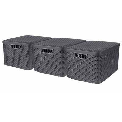 Curver Кутии за съхранение с капак Style, 3 бр, размер L, антрацит
