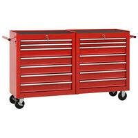 vidaXL Количка за инструменти с 14 чекмеджета, стомана, червена