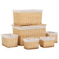 vidaXL Комплект стифиращи кошници от 6 части, естествена върба