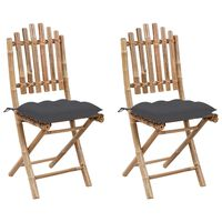 vidaXL Сгъваеми градински столове, 2 бр, с възглавници, бамбук