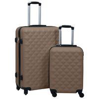 vidaXL Комплект твърди куфари с колелца, 2 бр, кафяв, ABS