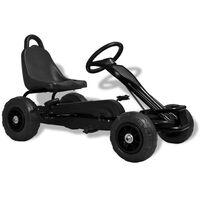 vidaXL Детски картинг с педали и гуми, черен