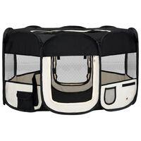 vidaXL Сгъваема кучешка кошара с чанта за носене, черна, 145x145x61 см