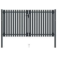vidaXL Стоманена порта с двойна врата, 306x220 см, антрацит