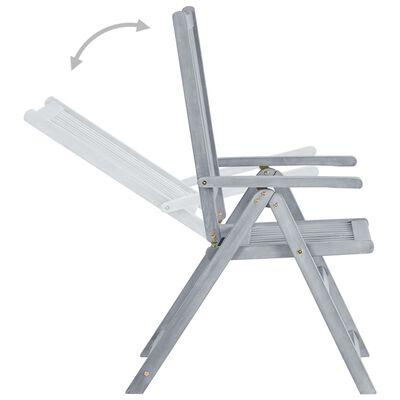 vidaXL Градински накланящи се столове 4 бр с възглавници акация масив