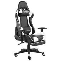 vidaXL Въртящ геймърски стол с подложка за крака, бял, PVC