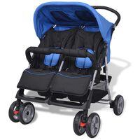 vidaXL Бебешка количка за близнаци, стомана, синьо и черно