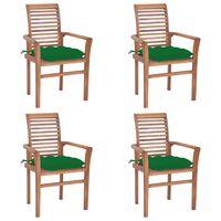 vidaXL Трапезни столове, 4 бр, със зелени възглавници, тик масив