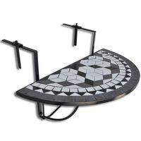 vidaXL Висяща балконска маса, черно и бяло, мозайка