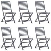 vidaXL Сгъваеми градински столове, 6 бр, акация масив