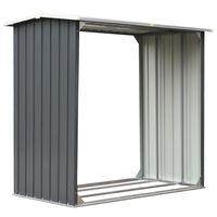vidaXL Навес за дърва, поцинкована стомана, 172x91x154 см, сив