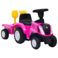 vidaXL Детски трактор New Holland, розов