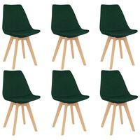 vidaXL Трапезни столове, 6 бр, тъмнозелени, текстил