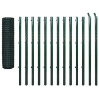vidaXL Евромрежа, стомана, 25x1,7 м, зелена
