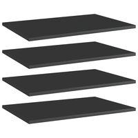 vidaXL Рафтове за етажерка, 4 бр, черен гланц, 60x40x1,5 см, ПДЧ