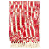 vidaXL Декоративно одеяло, памук, 220x250 см, червено