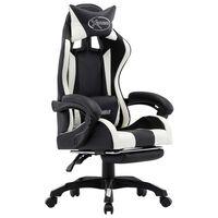 vidaXL Геймърски стол с подложка за крака бяло/черно изкуствена кожа