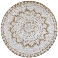 vidaXL Плетен килим от юта с принт, 90 см, кръгъл