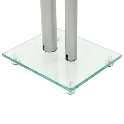 vidaXL Стойки за тонколони, 2 бр, 2 колони, закалено стъкло, сребристи