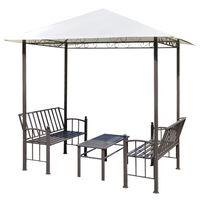 vidaXL Градинска шатра с маса и пейки, 2,5 x 1,5 x 2,4 м