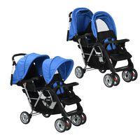 vidaXL Комбинирана количка тандем, стомана, синьо и черно
