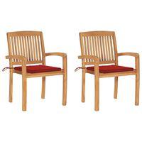 vidaXL Градински столове 2 бр червени възглавници тиково дърво масив