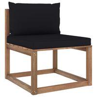 vidaXL Градински палетен среден диван с черни възглавници
