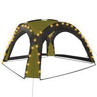vidaXL Парти шатра с LED и 4 стени, 3,6x3,6x2,3 м, зелена