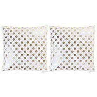 vidaXL Възглавници, 2 бр, принт фолио, бяло-златисти, 40x40 см, памук