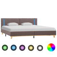 vidaXL Рамка за легло с LED, таупе, текстил, 160x200 см