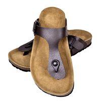 vidaXL Дамски чехли от био корк с лента м/у пръстите кафяви размер 36