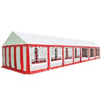 vidaXL Градинска шатра, PVC, 6x14 м, червено и бяло