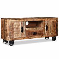 vidaXL Шкаф за телевизор, груба мангова дървесина, 120x30x50 cм