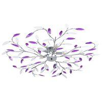 vidaXL Лампа за таван с акрилни кристални листа за 5 крушки E14 лилава