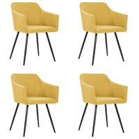 vidaXL Трапезни столове, 4 бр, жълти, текстил