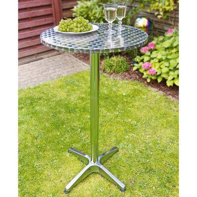 HI Сгъваема бистро-бар маса, алуминий, кръгла,  60x60x(58-115) см