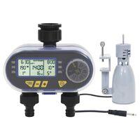 vidaXL Дигитален таймер за поливане с двоен изход и сензор за дъжд