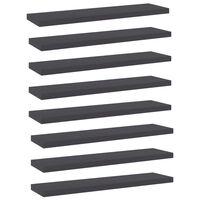 vidaXL Рафтове за етажерка, 8 бр, сиви, 40x10x1,5 см, ПДЧ