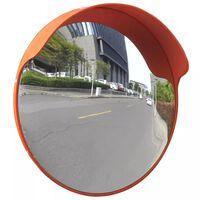 vidaXL Изпъкнало пътно огледало, PC пластмаса, оранжево, 45 см, улично