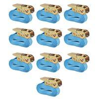 vidaXL Укрепващ колан с тресчотка, 10 бр, 0,8 тона, 4мх25мм, син