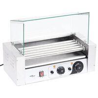 vidaXL Хотдог грил машина с 5 ролера и стъклен капак 1000 W