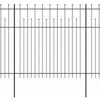 vidaXL Ограда палисада с остри връхчета, стомана, 600x200 см, черна
