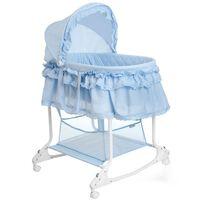 Little World 2 в 1 Бебешко кошче люлка 85x70x110 см синьо, LWFU002-LBL