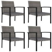 vidaXL Градински трапезни столове, 4 бр, полиратан, сиви