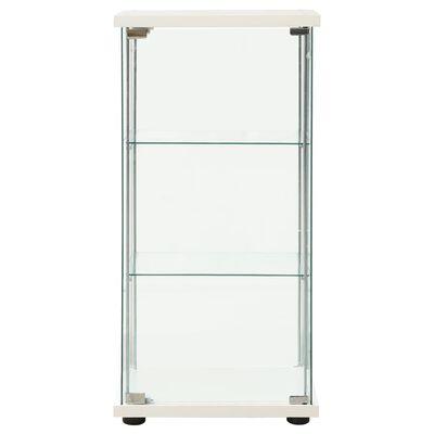 vidaXL Шкаф за съхранение, закалено стъкло, бял