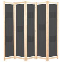 vidaXL Параван за стая, 5 панела, сив, 200x170x4 cм, текстил