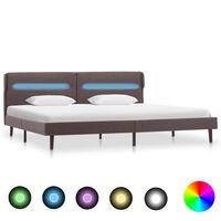 vidaXL Рамка за легло с LED, таупе, текстил, 140x200 см