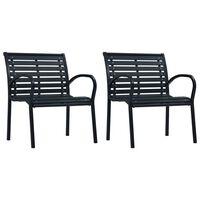 vidaXL Градински столове, 2 бр, черни, стомана и WPC