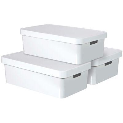 Curver Кутии за съхранение Infinity с капак, 3 бр, 30 л, бели, 240671