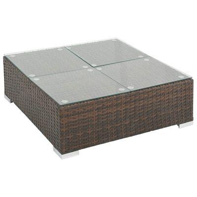 vidaXL Градински комплект с възглавници, 7 части, кафяв полиратан
